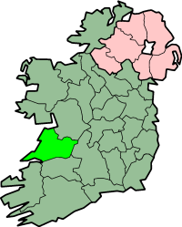 Map of Ireland and county Clare
